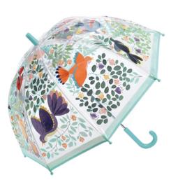 Paraplu doorzichtig vogels en bloemen