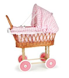 Rieten poppenwagen vichy roze