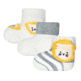 Ewers 3-pack newborn sokjes lion geel