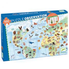 Puzzel observatie Dieren op de wereld -  100st