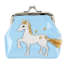 Blauw paarden clip portemonnee