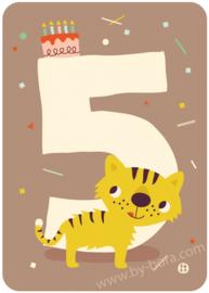 verjaardagskaart met envelop - 5 jaar Tiger