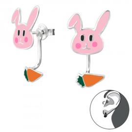 Zilveren konijn&wortel oorsteker