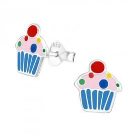 Zilveren cupcake oorsteker