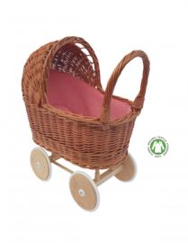 Rieten poppenwagen met oud roze bekleding - Hollie