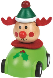 Kerst pull-back auto hout