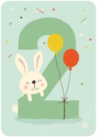 verjaardagskaart met envelop - 2 jaar Konijn