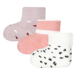 Ewers 3-pack newborn sokjes roze wit, lila