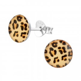 Zilveren leopard oorsteker