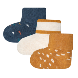 Ewers 3-pack newborn sokjes kurkuma, blauw, ecru
