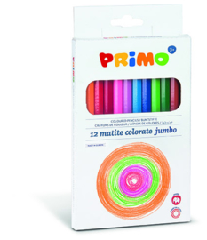 PRIMO - 12 driehoekige kleurpotloden met 2 puntenslijpers en gum
