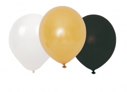Jabadabado Ballonnen zwart/wit/goud (9 st./zakje)