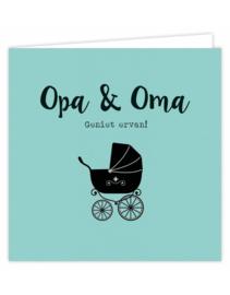 Dubbele wenskaart - Opa&Oma geniet ervan!