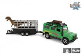 KidsGlobe Land Rover Defender met dino-trailer