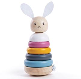 Bigjigs - Houten stapelringen konijn