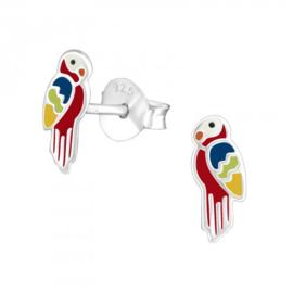 Zilveren papagaai oorsteker