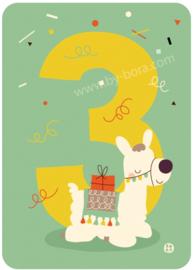 verjaardagskaart met envelop - 3 jaar Alpaca