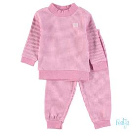 Feetje wafel pyjama pink melange