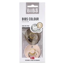 BIBS - Fopspeen natuurrubber - Blister Dark Oak/blush 2-pack size 1
