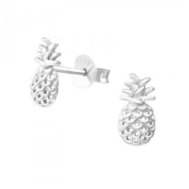 Zilveren ananas oorsteker