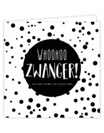 Dubbele wenskaart - Whoohoo Zwanger!