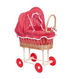 Rieten poppenwagen rood met witte stippen