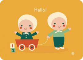 Postkaart Hello baby tweeling