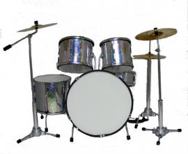 Miniatuur drumstel  silver/chrome