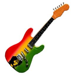 Gitaarminiatuur met magneet |  Stratocaster Bob Marley tribute