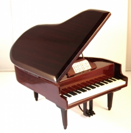 Miniatuur concertvleugel ( piano ) BRUIN  -gelakt hout-