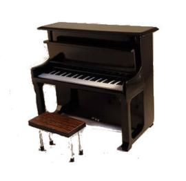 Miniatuur piano + bankje - zwart