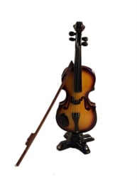 Miniatuur viool met strijkstok en stander
