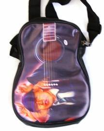Schoudertas klein model gitaar met Angus Young afbeelding- leatherlook-