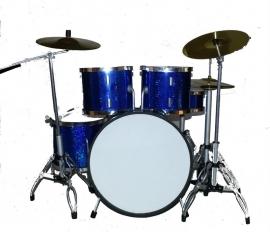 Miniatuur drumstel  blue/chrome
