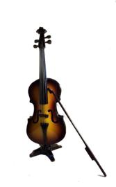 Miniatuur cello met stander en strijkstok