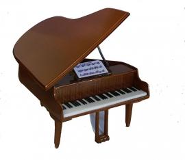 Miniatuur concertvleugel ( piano ) BRUIN + krukje  -gelakt hout-