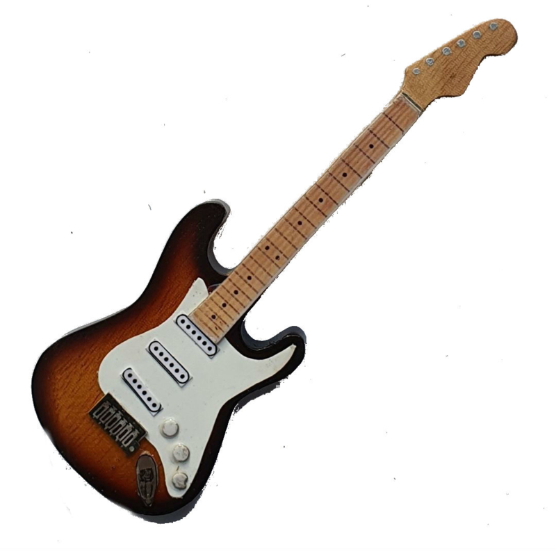 "Gitaarminiatuur met magneet   Jimi Hendrix Strato `Sunburst"""