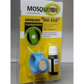 Mosquitox muggenbandje met flesje citronella olie in 3 kleuren