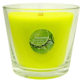 XL citronella kaars in glas met stil houtlont 700 g