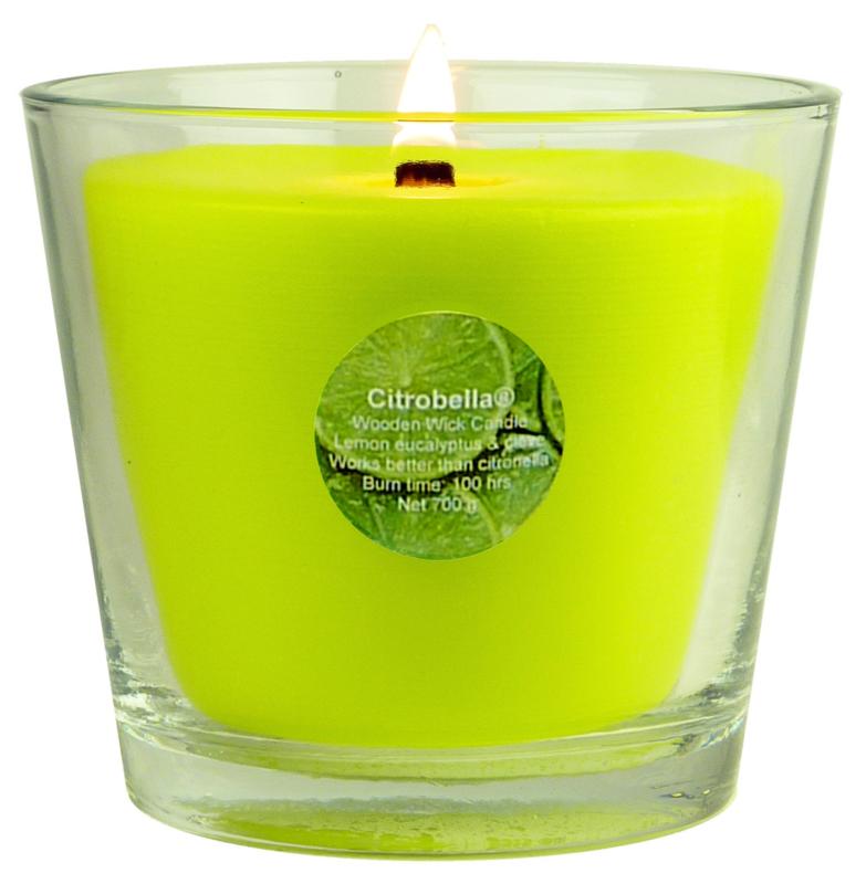 XL citronella kaars in glas met stil houtlont 700 g in geschenk doos