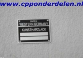 911249 Metalen plaatje Kunstharzlack
