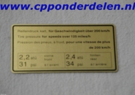 911251 Sticker Bandenspanning `65-`72 boven 200 km/h