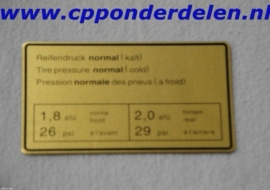 911250 Sticker Bandenspanning `65-`72 normaal