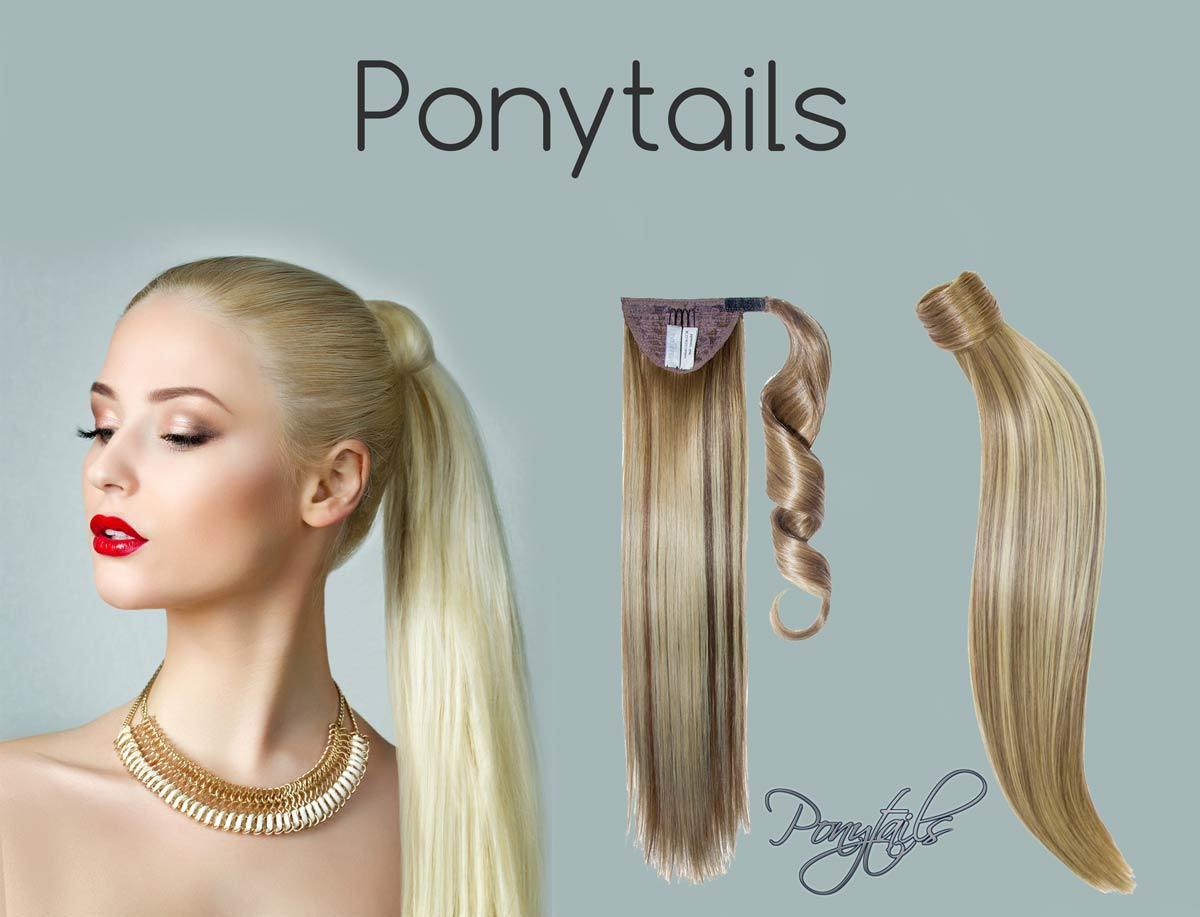 clip in ponytail humanhair 55cm