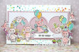EC0187  Eline's Animals  Pigs set (6 dies, 7 stamps)