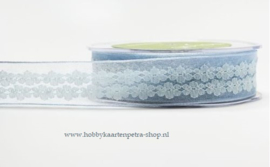 TH1001 Organza lint met bloemen - blauw 25 mm