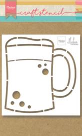 Craft stencil PS8063 Beer mug by Marleen