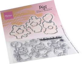 EC0187  Eline's Animals  Pigs set (6 dies, 7 stamps)