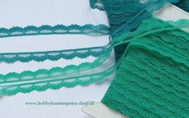 Artikel K1074 kant Nylon 15mm (Groen of Turquoise)