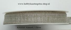 KH1010 Lurex Ribbon Naturel/Silver 15mm